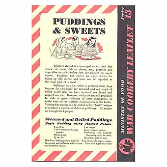 WW2 Replica 'Puddings and Sweets' Recipe Booklet
