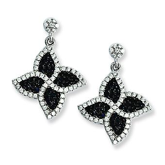 Sterling Silver and CZ Brilliant Embers Flower Dangle Post Earrings