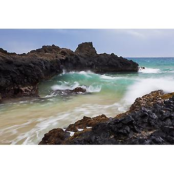 Hawaii Maui Makena Ocean wave on rocky coastline PosterPrint