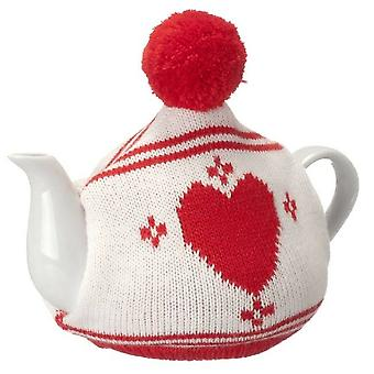 Tea pot with Heart knitted cover