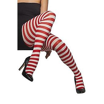 Smiffys Fever Opaque Red White Striped Tights Fancy Dress Accessory