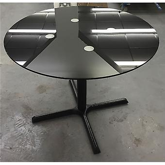 Elliot Glass Kitchen Dining Table Top With Cast Iron Table Frame And Base