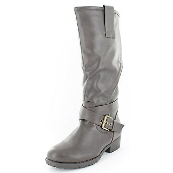 Ladies Spot On Asymmetric Zip Biker Style Boots Brown Size 7
