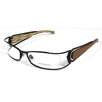 Boucheron Unisex Rectangular Rounded Eyeglasses Silver/Wood