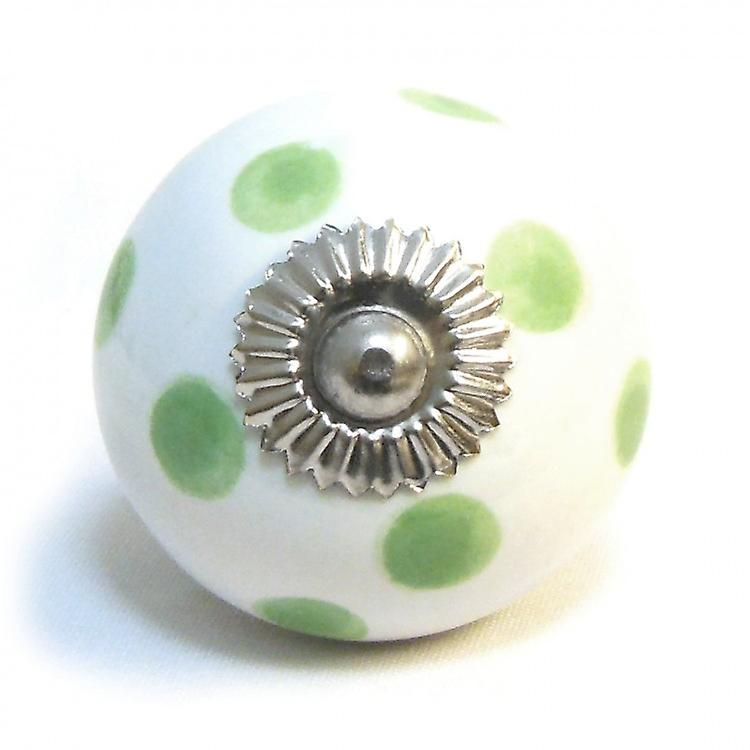 White / Green Spots Ceramic Cupboard Knob