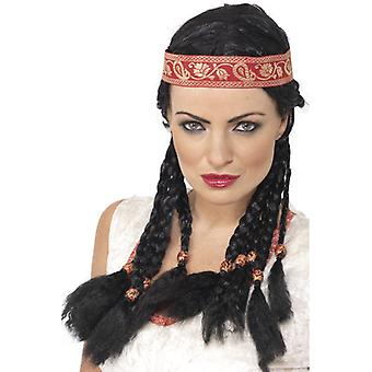 Pocahontas Indian wig black Western Indian band