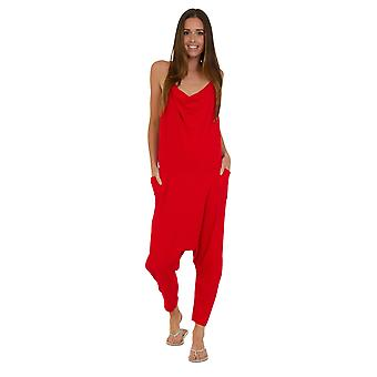 Jersey Jumpsuit - Red Drop Crotch Lightweight Stretch Relaxed Fit Playsuit
