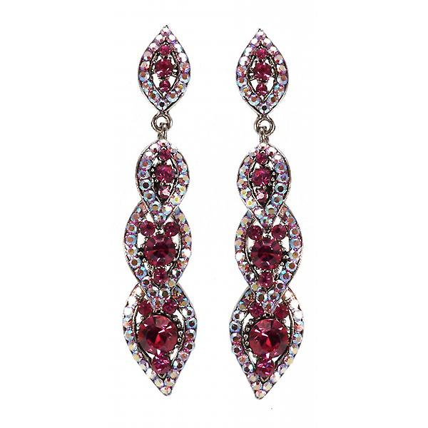 W.A.T Sparkling Fuchsia Pink Swarovski Crystal Long Drop Earrings