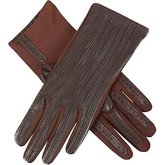 Dents Olivia Half Silk Lined Hairsheep Leather and Elastane Gloves - Mocca Brown