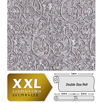 Baroque wallpaper EDEM 9016-35 non-woven wallpaper imprinted with floral ornaments and metal accents silver grey 10.65 m2