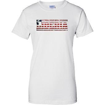 Liberia Grunge Land Name Flag Effect - Damen-T-Shirt