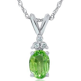 5 / 8ct ovale Peridot & Diamond Solitaire hanger 14K White Gold With 18
