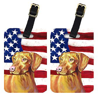 Carolines Treasures  LH9012BT Pair of USA American Flag with Vizsla Luggage Tags