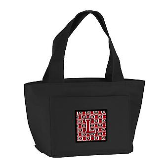 Letter L Football Red, Black and White Lunch Bag