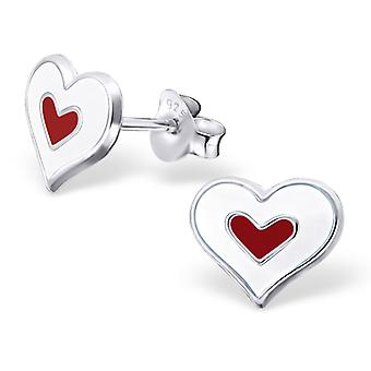 Heart - 925 Sterling Silver Colourful Ear Studs - W18238x