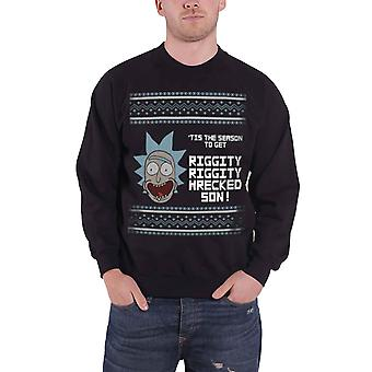 Rick And Morty Christmas Jumper sweatshirt Riggity Wrecked Official Mens Black