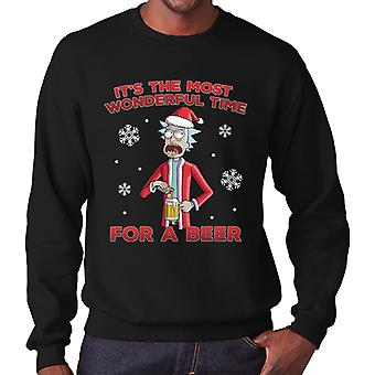 Rick And Morty Christmas Wonderful Time For A Beer Men's Sweatshirt