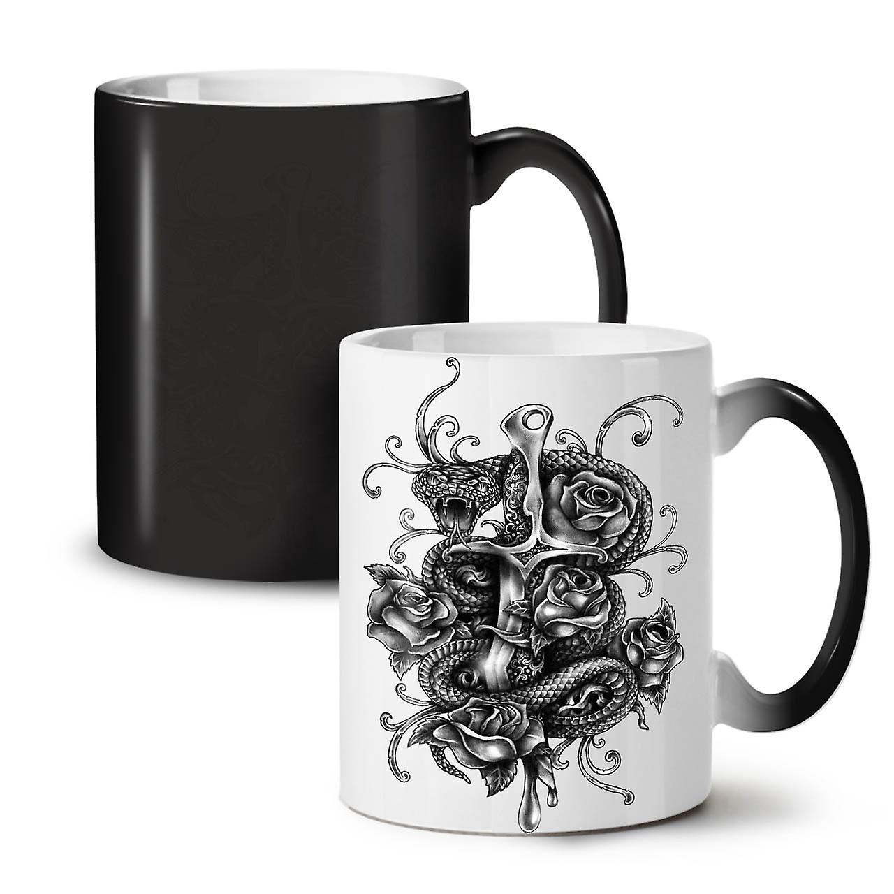 Tasse Avec 11 OzWellcoda Serpent Céramique Noir Café Couleur Changeant Thé Poignard Nouvelle 4Rq35AjL
