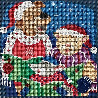 Caroling Trio Buttons & Beads Counted Cross Stitch Kit-5