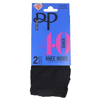 Ladies Pretty Polly 40 Denier Knee Highs PNERQ6 - Black Nylon - One Size