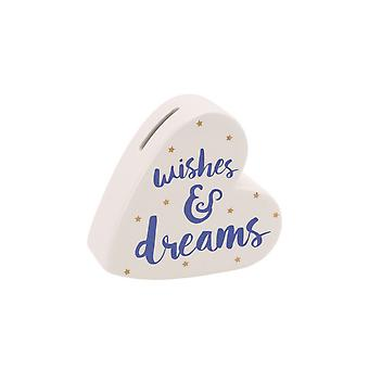 CGB Giftware Oh So Pretty Wishes And Dreams Ceramic Heart Money Bank