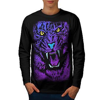 Tiger Beast Purple Men BlackLong Sleeve T-shirt | Wellcoda