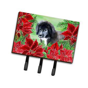 Newfoundland cachorro Poinsettas Leash o llavero