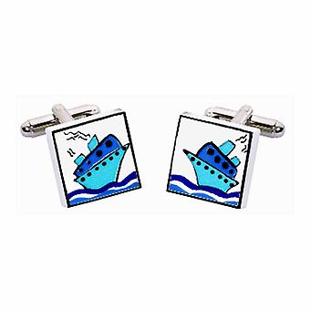 Blue Cruise Ship Cufflinks by Sonia Spencer, in Presentation Gift Box. Boat, Cruise Liner