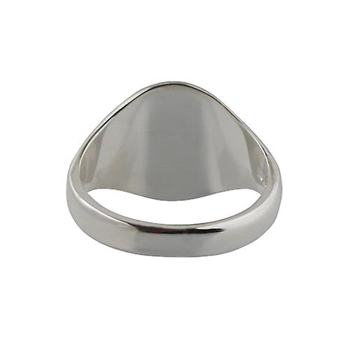 Silver 16x14mm hand engraved solid oval Signet Ring Size V