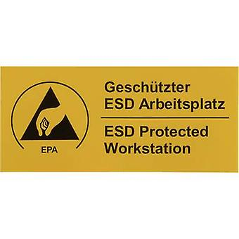 ESD warning sign 1 pc(s) Yellow, Black (L x W) 90 mm x 40 mm Wol