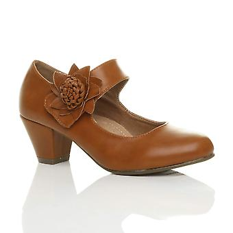 8d94bc50d31 Ajvani womens low block kitten heel mary jane style flower leather lined  work court shoes pumps