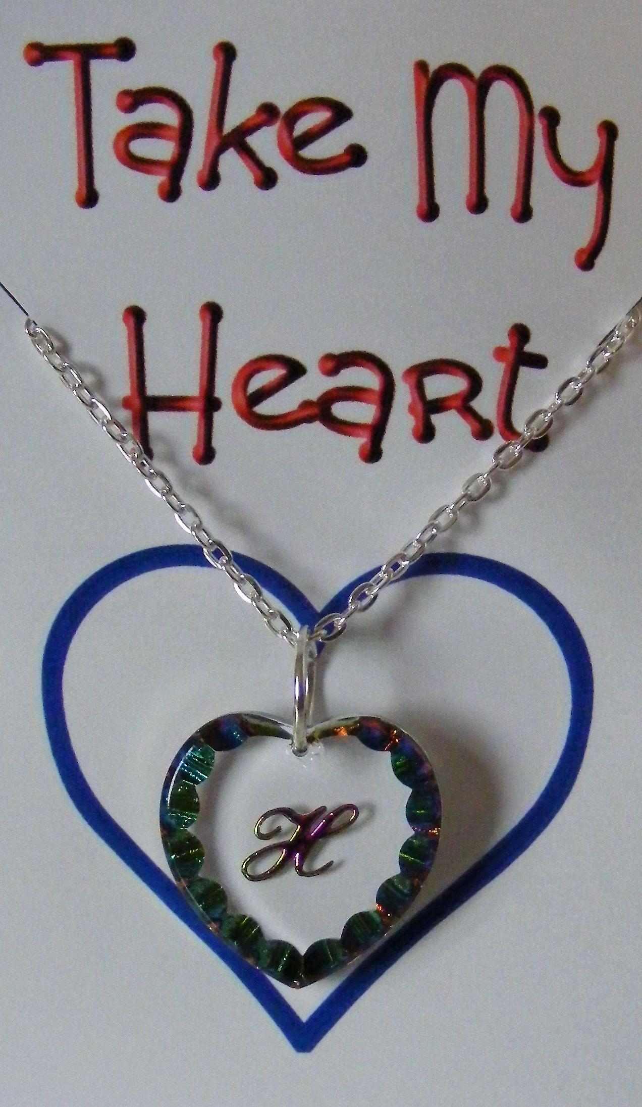 Heliotrope Initial Heart Crystal Pendant - H