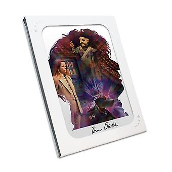 Tom Baker Signed Dr Who Silhouette Poster In Gift Box