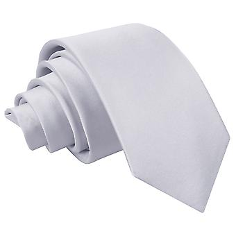 Silver Plain Satin Regular Tie for Boys