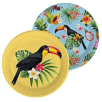 Toucan summer party dish 23 cm Dekoteller 8 piece tropical Toucan party decoration