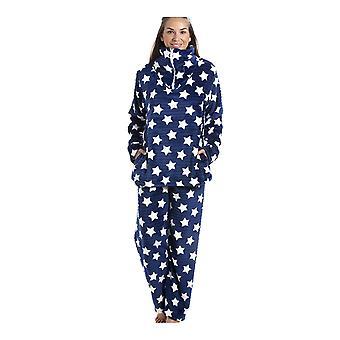 Camille Navy blå super Velour Fleece hvit stjerne ut Pyjama sett