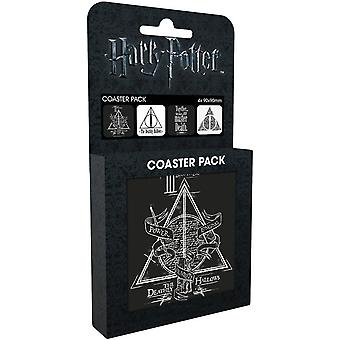 Harry Potter Deathly Hallows Set Of 4 Cork Backed Drinks Coasters
