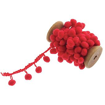 20mm Red Pom Pom Trim - 2m   Ribbons & Bows for Crafts
