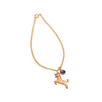 GEMSHINE ladies bracelet with Sapphire and Unicorn. Girls high-quality gold plated pendant, rose or silver plated on 45cm chain in a noble gift case. Made in Spain