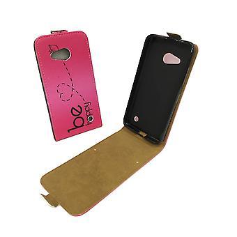 Handyhülle Tasche für Handy Microsoft Lumia 550 Be Happy Pink