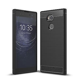 Sony Xperia XA2 ultra TPU case carbon fiber optics brushed protective case black
