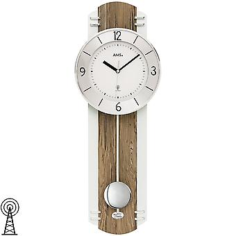 AMS 5292 wall clock radio radio controlled wall clock with pendulum pendulum clock wood Walnut colours