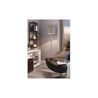 Eglo Pasteri Nickel Floor Lamp With Grey Drum Shade
