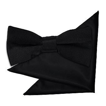 Black Plain Satin Bow Tie & Pocket Square Set for Boys