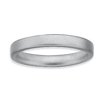 Sterling sølv Rhodium-belagt stabelbare udtryk Rhodium Satin Ring - ringstørrelse: 5-10