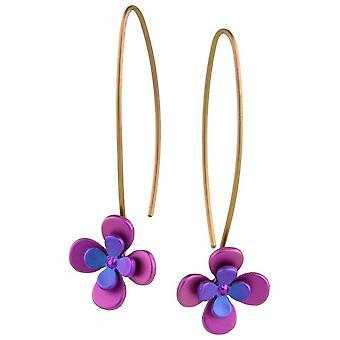 Ti2 tytanu cztery podwójne płatek Kwiat kolczyki - różowy