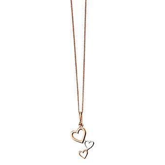 Elements Silver Heart Cascade Pendant - Rose Gold/Silver