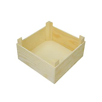 19cm Square Wooden Crate to Decorate - Ideal for DIY Miniature Gardens