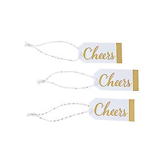24 Small Cheers Gold & White Favour or Gift Tags | Christmas Gift Wrap