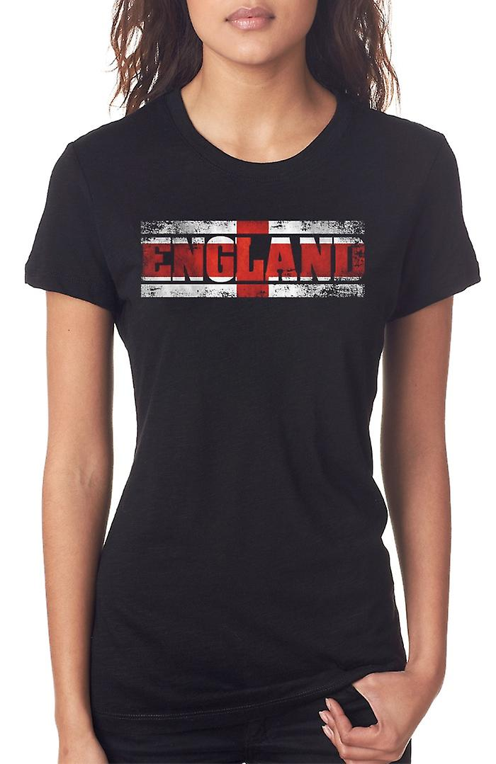 English England Flag - Words Ladies T Shirt